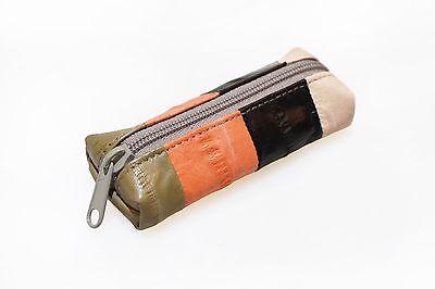 Genuine Eel Skin Leather - Lipstick Stamp Case, Accessories Pouch / Peach