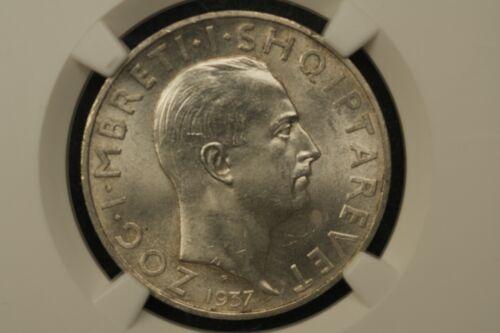 Albania 1937 2 Franga NGC MS 63
