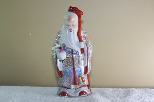 Vintage Chinese Porcelain SHOU XING GOD OF LONGEVITY DRAGON STAFF PEACH
