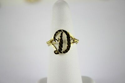 10K YELLOW GOLD Cursive Letter Initial Ring (for -