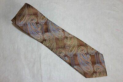 Bruno Piattelli Roma Extra Long 100% Silk Tie Paisley Brown Green Blue