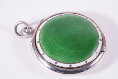 Antique Sterling Silver and Enamel Compact with Mirror