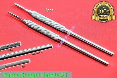 New 2pcs Scalpel Handle 3 Round Pattern Premium German Surgical Crafts Dental
