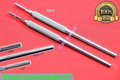 New 2pcs Scalpel Handle 3 Round Pattern Premium German Surgical Crafts Dental