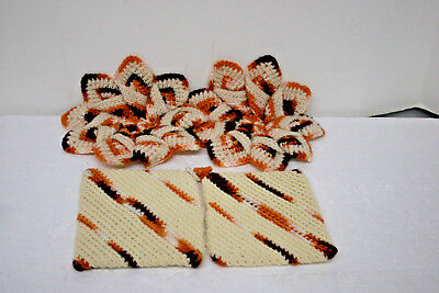 Vintage Crocheted Hot Pads and Coordinating Pot Holders Hand Made 1960's