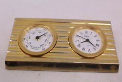 CHASS POLISHED BRASS DESK CLOCK Thermometer GERMAN COIL JAPAN MOVEMENT