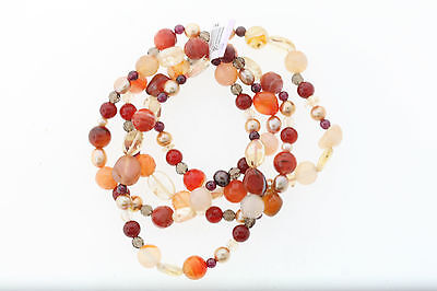 Genuine Polished Tiger's Glass Agate Pearl Quartz 4 Piece Bracelet Set