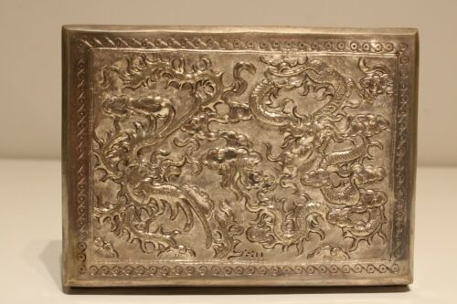 VINTAGE RARE BEAUTIFUL HAND MADE METAL CHINA OR JAPAN BOX CASE WITH DRAGONS