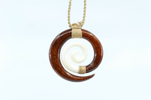 Hawaiian Koa Wood Spiral Necklace - Hand Carved Buffalo Bone with Genuine Koa