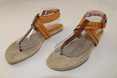 Brown Espadrille - Burberry Brown Studded Leather Espadrille Sandals sz  40 / US 10