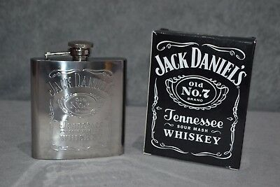 Genuine Jack Daniel's Old No.7 Hip Flask In Gift Box Collectable 177ml 6oz New