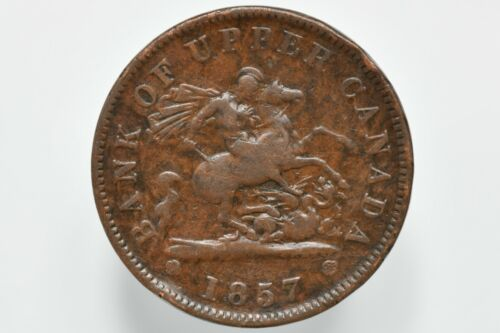 1857 Bank of Upper Canada Copper Penny Token KM# Tn3
