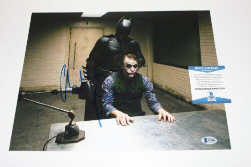 CHRISTIAN BALE SIGNED THE DARK KNIGHT 11x14 MOVIE PHOTO BECKETT COA BATMAN JOKER