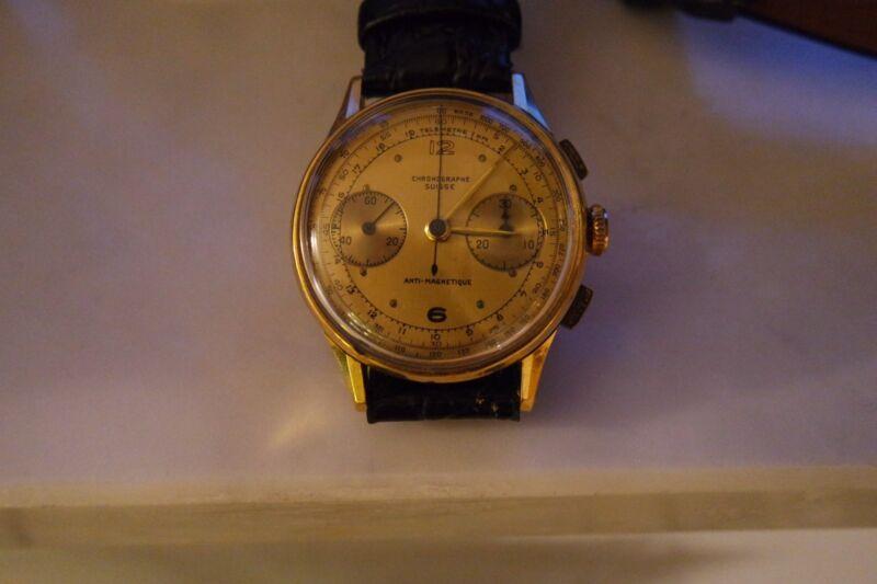 Herrenuhr Gold 750,Chronograph Suisse, 18 K, Anti-Magnetique