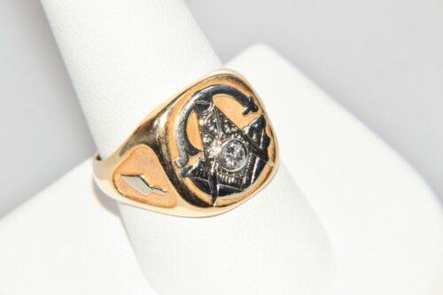 Estate 14k Gold Freemasons Masonic Diamond Ring Size 9.75 Heavy Large