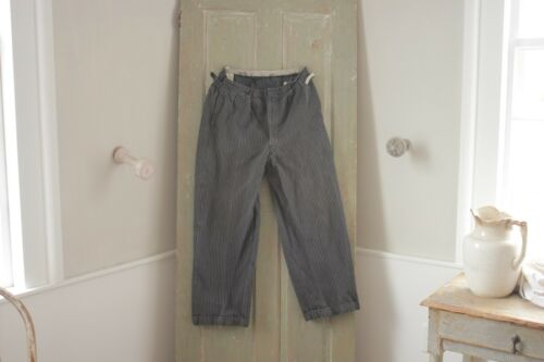 Vintage Pants Antique French Workwear trousers 32 inch waist patched Gray tones