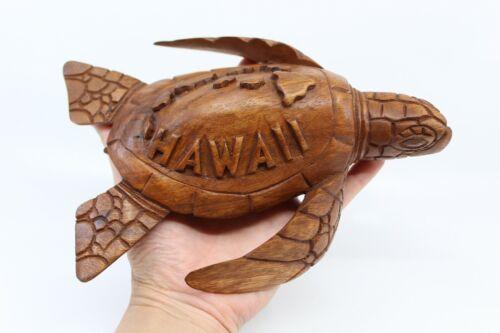 Hawaiian Sea Turtle/Honu Figurine -Hand Carved Monkey Pod Wood -Hawaiian Islands