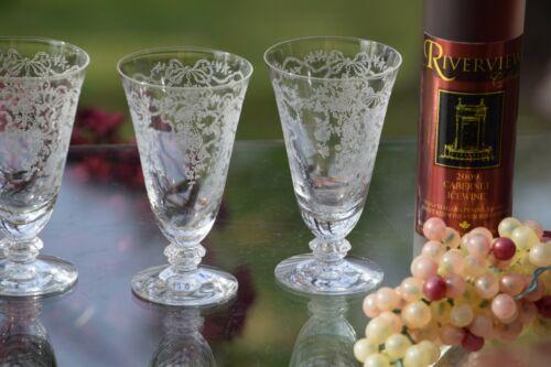 Vintage Acid Etched Crystal Wine ~ Liqueur Glasses, Set of 4, Fostoria, Romance