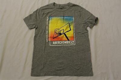 Abercrombie Kids Boy's S/S Basketball Logo Graphic T-Shirt DD5 Gray Size 15/16