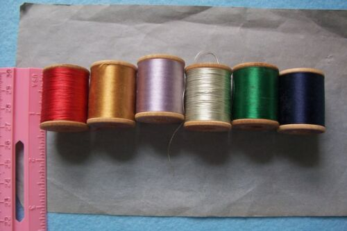 "6 Antique  Wooden Spools  Silk  Embroidery Sewing Thread ""Clark"