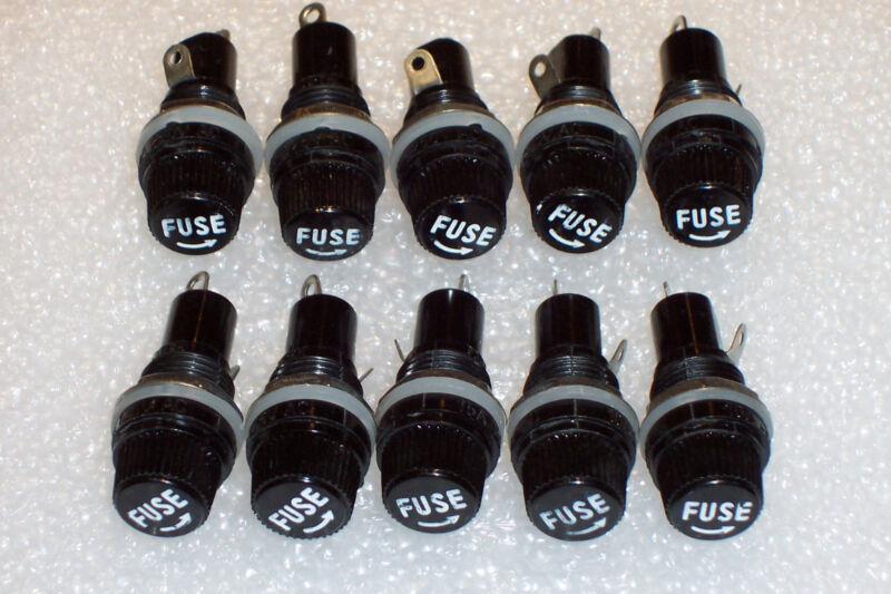 10 Pcs Panel Mount Fuse Holders For 5 X 20mm Glass/ceramic Fuses , New Parts !!