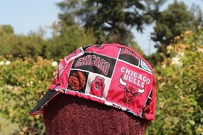 CYCLING CAP CHICAGO BULLS NBA  100%  COTTON HANDMADE IN USA ANY SIZE