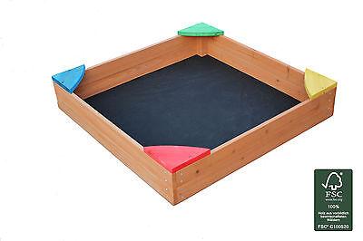 Sandkasten, Sandkiste, Holzsandkasten lasiert mit Bodenplane und Abdeckung