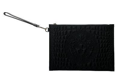 Versace Women's Black Canvas Medusa Wristbag Clutch Bag