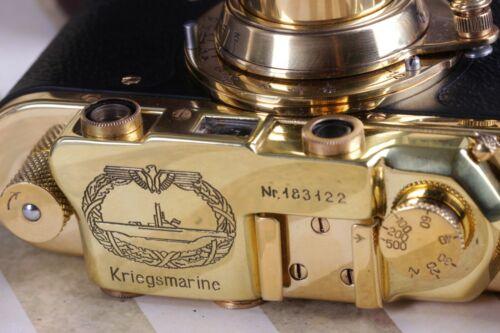 LEICA II(D) K.M. Kriegsmarine WWII Vintage 35mm Art Camera Black/Gold - FED copy