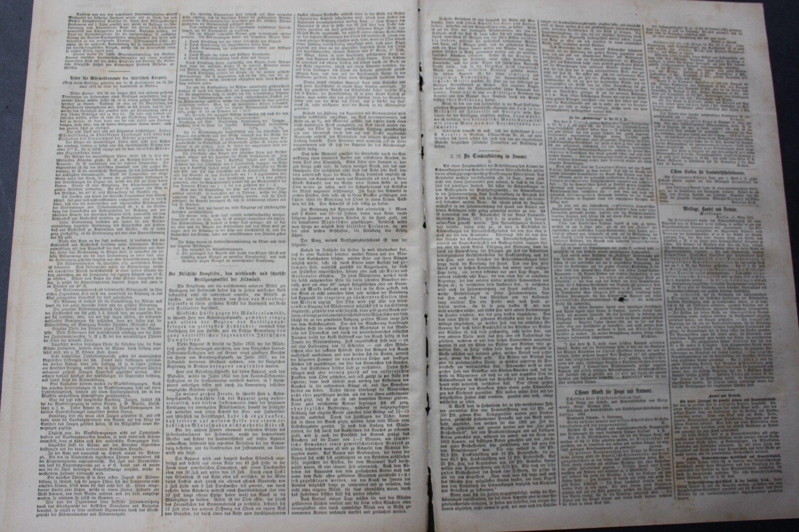1872 Zeitung  31 / Jülich sche Dampfofen Vertigungsmittel gegen Feldmäuse