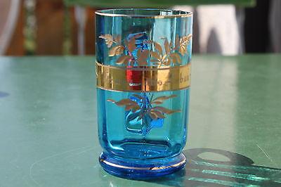 Antikes Andenkenglas Löbau Jugendstilglas mit Goldband um 1900