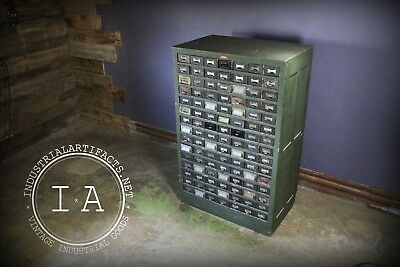 Vintage Industrial Addressograph Catalogue File Cabinet Storage By Hamilton