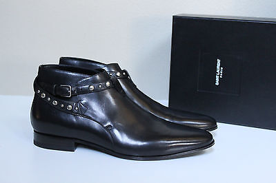New sz 10.5 US / 43.5 SAINT LAURENT Black Leather Boxer Stud Ankle Boot MEN Shoe