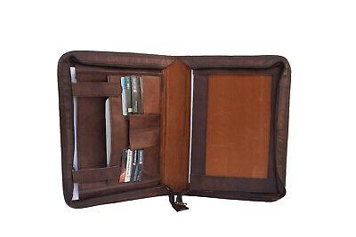 Brown Leather Portfolio Padfolio Organizer Folder A4 Notepad Executive Zipper