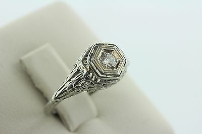 14K White Gold Antique Vintage Estate Deco Diamond Engagement Ring - Size 5.5