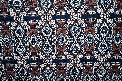 Navy Ethnic Jersey Knit Print #268 Cotton Spandex Lycra Fabric BTY