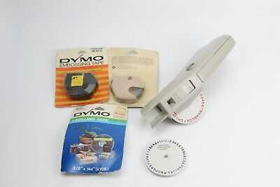 Vintage 1971 Dymo M6 Label Maker 3 Packages Of Tape - Two Black One Blue