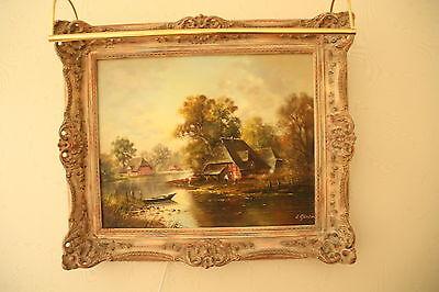 Antiquität Ölgemälde, Landschaft,Bauernhaus am See mit Ruderkahn