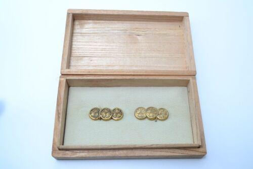 Menuki antique Japanese sword kodogu Mumei 3 Aoi crests design brass Edo FedEx