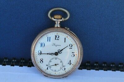 Antique Vintage Old Swiss Made Longines Open Face Mens Pocket Watch silver