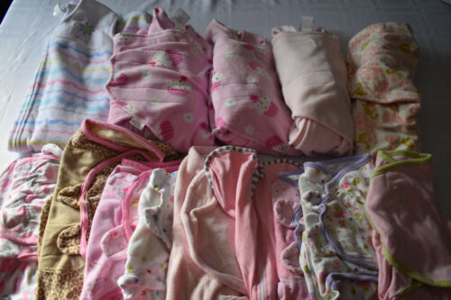 Used 14 Pc. Lot Of Baby Girl Swaddle Blankets/wraps 0-12 Months Euc/vguc