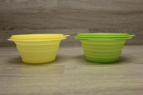 Tupperware Flatout Collapsible Bowl Set Of 2 Yellow & Green 5452-A1 5452A-7 3Cup