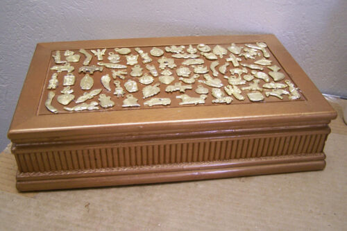 Golden Milagro-Covered Wood Jewelry Box - Mexico - Over 50 Milagros