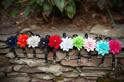 Fancy Wedding Dog Collar PU Leather With Organza Flower and Swarovski Crystal - Dog Wedding Collar