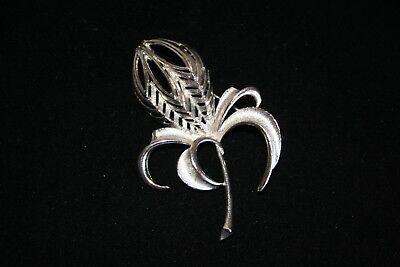 Vintage TORINO silver tone brooch designer signed flower floral pin