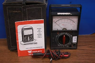 Vintage Triplett Model 6a Multi-meter W Case And Manual