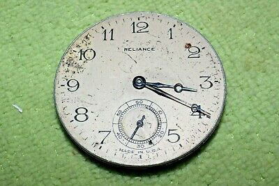 #PW84,Ingersoll Reliance,Watch Co.42mm Movement &Silver Dial For Pocket Watch