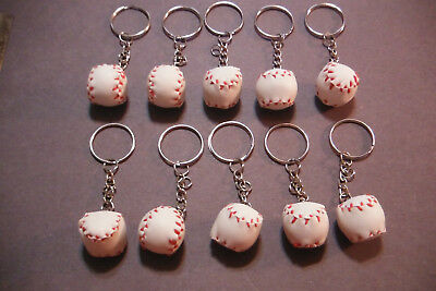 New Baseball Key Chain Pendant Decorative Key Ring Lot of 10 For Party or Gifts