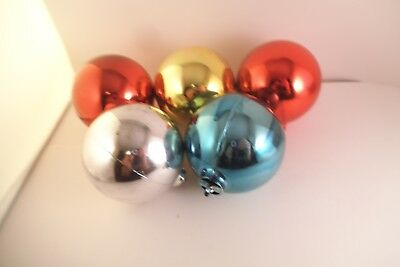 Vintage Lot of 5 Large Plastic Christmas Ornaments Red Pink Blue Silver - Large Plastic Christmas Ornaments
