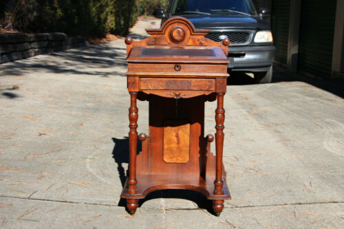 Petite Solid Walnut Victorian Flip Top Davenport Desk with Carved Gallery Ca1870
